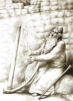 Art Print featuring the drawing King David by Alex Tavshunsky