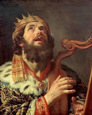 Netherlands Painting - King David Playing The Harp by Gerard van Honthorst