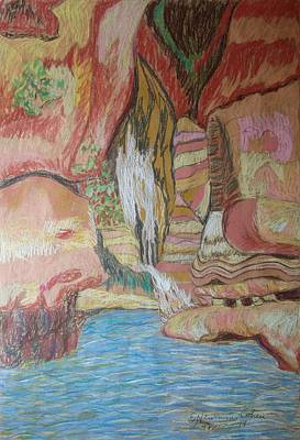 Drawing - King David's Hiding Place by Esther Newman-Cohen