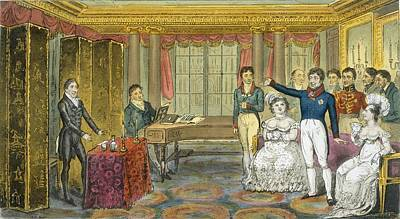 Cartoon Drawing - King George Iv At Carlton House by Isaac Robert Cruikshank