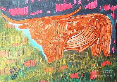 Painting - King Golden Texas Longhorn Bull 1 by Richard W Linford