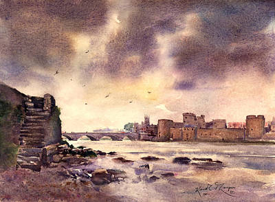 Fineartamerica.com Painting - King Johns Castle Downstream County Limerick Ireland by Keith Thompson