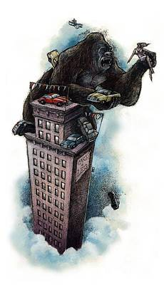 King Kong Drawing - King Kong by Chris Van Es
