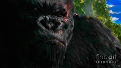 King Kong Drawing - King Kong - Concentration by Miroslav Tyl