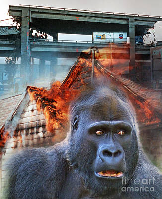 Monsters Photograph - King Kong Is On A Rampage by Jim Fitzpatrick