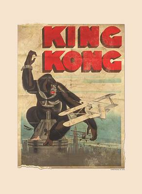 Gorilla Digital Art - King Kong - Old Worn Poster by Brand A