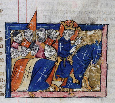King Leading Crusaders Art Print by British Library