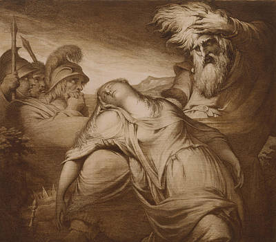 Distressed Drawing - King Lear And Cordelia by James Barry