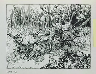 King Log, Illustration From Aesops Fables, Published By Heinemann, 1912 Engraving Art Print by Arthur Rackham