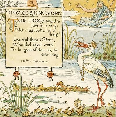 Stork Drawing - King - Log - King's Stork by Pg Reproductions
