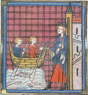 King Louis Ix Sails For France Art Print by British Library