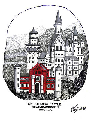 Drawing - King Ludwigs Castle  by Frederic Kohli