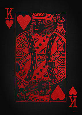Digital Art - King Of Hearts In Red On Black Canvas   by Serge Averbukh