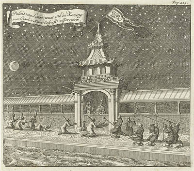 Eclipse Drawing - King Of Siam Thailand Observes The Lunar Eclipse by Jan Luyken And Aart Dircksz Oossaan