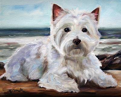 Westie Painting - King Of The Beach by Mary Sparrow
