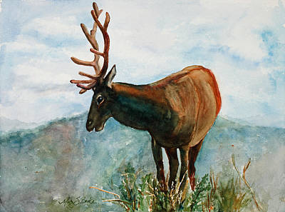 Elk Painting - King Of The Hill by Mary Benke