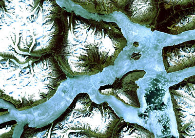 Satellite Image Photograph - King Oscar Fjord Greenland by Anonymous