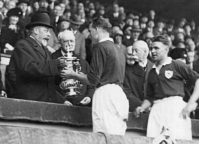 King George Photograph - King Presents Soccer Trophy by Underwood Archives