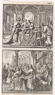 Ptolemy Drawing - King Ptolemy Philadelphus Studying The Hebrew Law Scrolls by Jan Luyken And Barent Visscher And Andries Van Damme