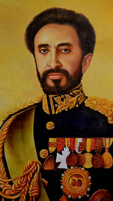Reggae Kings Painting - King Selassie Oil Painting by Max Freeman
