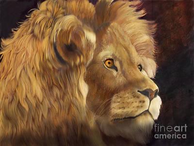 Lion In Waiting Digital Art - King by Sydne Archambault
