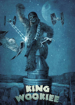 Empire State Building Drawing - King Wookiee by Eric Fan