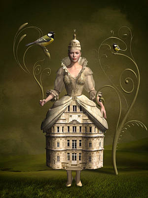 Surrealism Mixed Media Rights Managed Images - Kingdom of her own Royalty-Free Image by Britta Glodde
