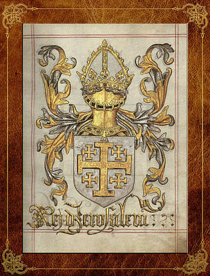Coat Of Arms Digital Art - Kingdom Of Jerusalem Medieval Coat Of Arms  by Serge Averbukh