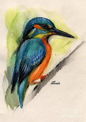 Kingfisher Drawing - Kingfisher by Angel  Tarantella