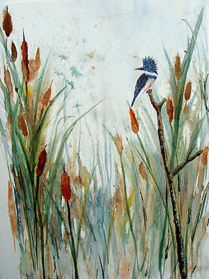 Kingfisher Dragonflies And Cattails Art Print by Susan Duda