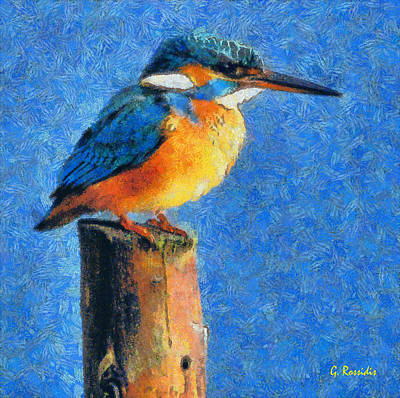 Kingfisher Painting - Kingfisher The King by George Rossidis