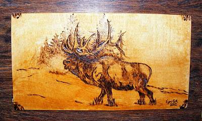 Kingof Forest-wood Pyrography Art Print by Egri George-Christian
