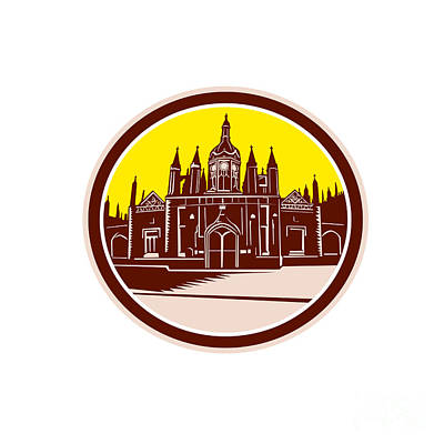 Cambridge Digital Art - King's College Cambridge Building Retro by Aloysius Patrimonio