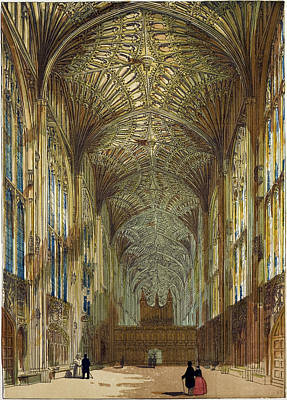 Cambridge Drawing - Kings College Chapel Cambridge Cambridge University Uk by English School