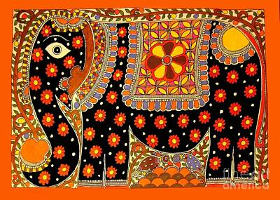 Painting - King's Elephant-madhubani Paintings by Neeraj kumar Jha
