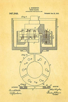 Navy Officer Photograph - Kingsbury Thrust Bearing Patent Art 1910 by Ian Monk