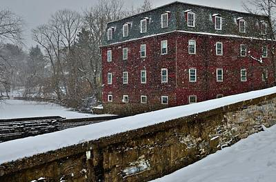 Princeton Photograph - Kingston Mill And Bridge In December 2013 Snowstorm by Steven Richman