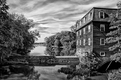 Kingston Mill - Princeton Nj In Black And White Print by Bill Cannon