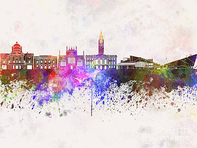 Kingston Upon Hull Skyline In Watercolor Background Art Print by Pablo Romero