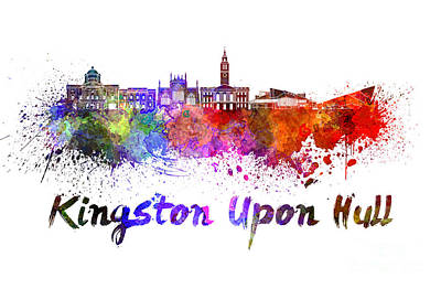 Kingston Upon Hull Skyline In Watercolor Art Print by Pablo Romero