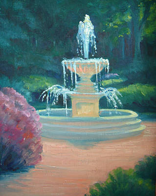 Painting - Kingwood Fountain Sparkles by Judy Fischer Walton