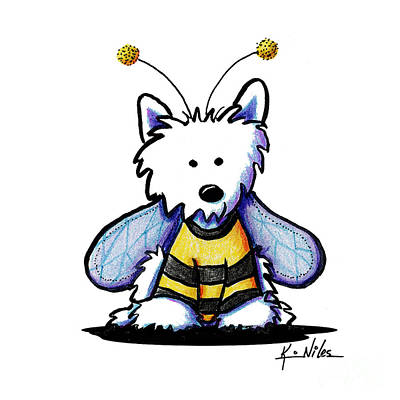 Westie Terrier Drawing - Kini Bee Westie by Kim Niles