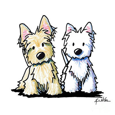 Scottish Dog Drawing - Kiniart Terrier Duo by Kim Niles