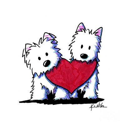 Westie Drawing - Kiniart Westie Heartfelt Duo by Kim Niles