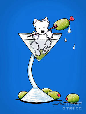 Cute Dogs Drawing - Westie Olive Martini by Kim Niles