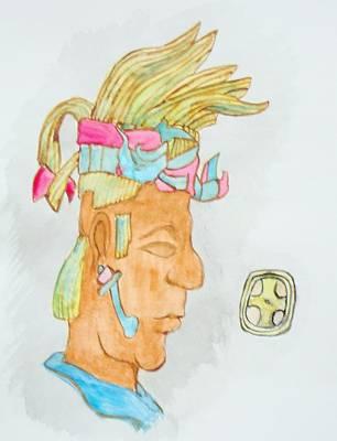 Ancient Civilization Painting - K'inich Janaab' Pakal Mayan King  by KD Martel