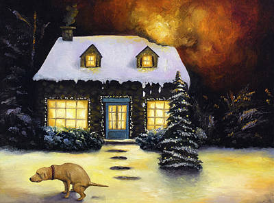 Labrador Painting - Kinkade's Worst Nightmare by Leah Saulnier The Painting Maniac