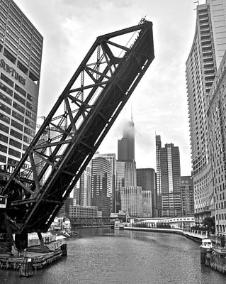 Black Commerce Photograph - Kinzie Street Bridge by Frozen in Time Fine Art Photography