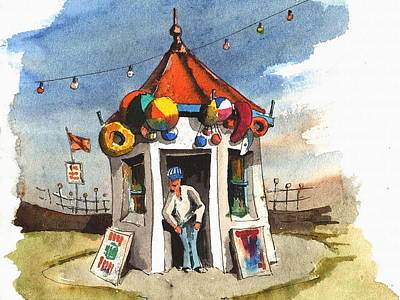 Baloon Painting - Kiosk On The Prom Bray by Val Byrne