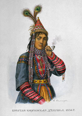 Beadwork Painting - Kirghiz Woman, C1836 by Granger